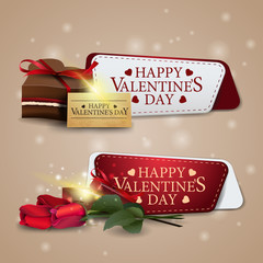 Two greeting banners for Valentine's Day with chocolates and flowers