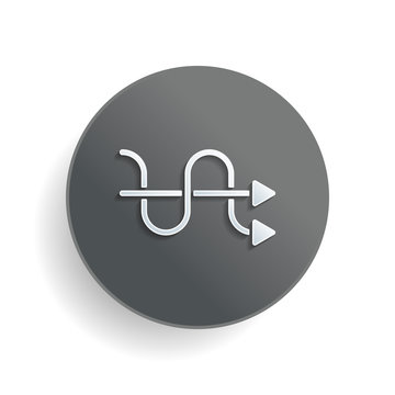 crossed arrows. simple silhouette. White paper symbol on gray round button with shadow