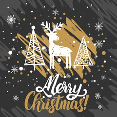 Christmas greeting card. Christmas trees covered with snow, deer, lettering Merry Christmas.