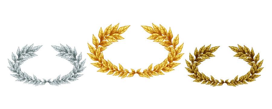 Golden Silver And Bronze Laurel Wreaths