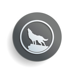wolf. simple icon. White paper symbol on gray round button with shadow