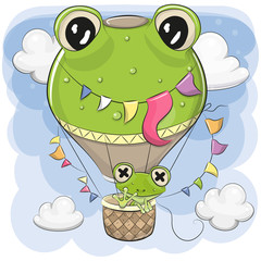 Cute Frog is flying on a hot air balloon