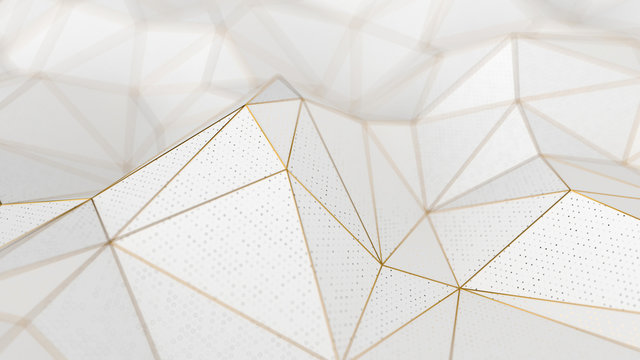 Abstract low-poly white background with golden lines
