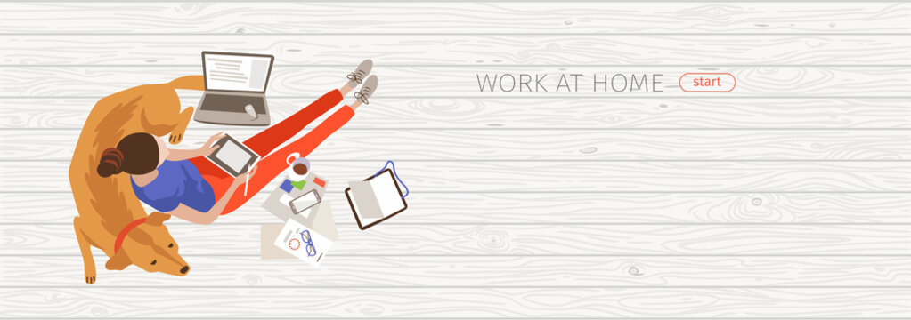 Working at home flat banner vector design idea