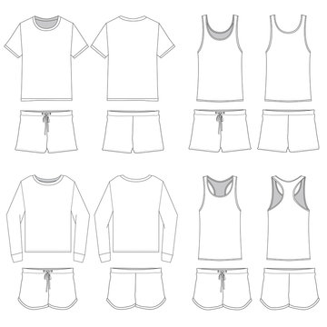 Vector template for Women's Pajama Combinations
