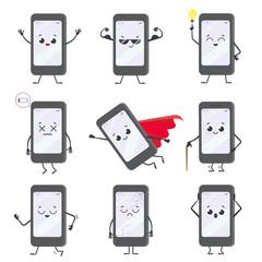 Cartoon smartphone character. Mobile phone mascot with hands, le - fototapety na wymiar