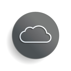 Simple cloud. Linear symbol with thin outline. White paper symbol on gray round button or badge with shadow