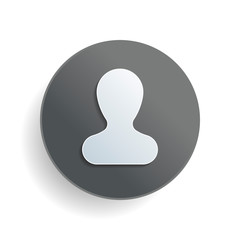Simple silhouette of man. White paper symbol on gray round button or badge with shadow