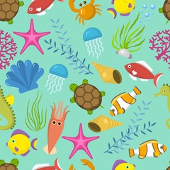 Seamless vector pattern with cute decorative fishes illustration. Funny multicolor background, marine texture underwater aquatic fishing animals.