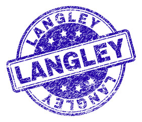 LANGLEY stamp seal imprint with distress style. Designed with rounded rectangles and circles. Blue vector rubber print of LANGLEY label with corroded texture.
