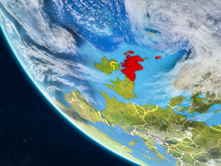 Fotobehang Schilderingen Scotland on planet Earth from space with country borders. Very fine detail of planet surface and clouds.