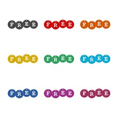 Free Word On Tags, simple color icon or logo, color set