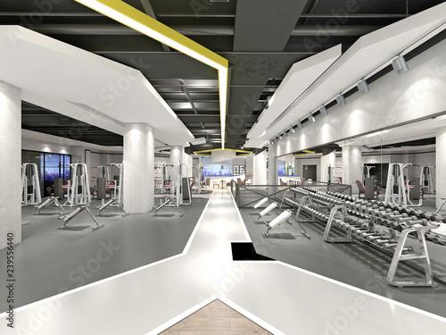 3d render gym fitness sport saloon
