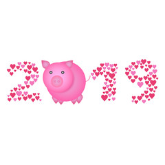 Chinese New Year 2019 concept - digits created from heart signs with cartoon pig instead of zero. Holiday sign for poster or greeting card, isolated on white background.