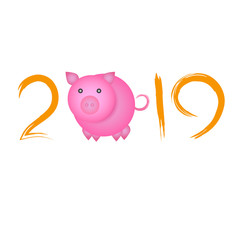 Chinese New Year concept - digits 2019 with pig instead of zero. Holiday sign for poster or greeting card, isolated on white background.