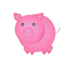 Simple funny cartoon pig - symbol of Chinese New Year 2019.  Holiday sign for poster or greeting card, isolated on white background.