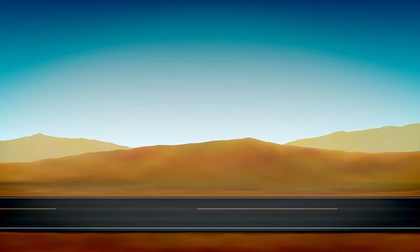 Side view of a road, roadside, desert with sand dunes and clear blue sky background, vector illustration