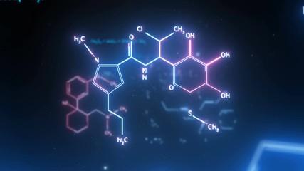 Fotobehang - Chemical formulas animation