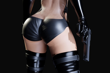 Sexy female assassin in glossy latex fishnet dress and panties and high heels