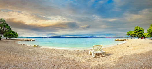 Beach in Crikvenica town. Kvarner bay, Croatia