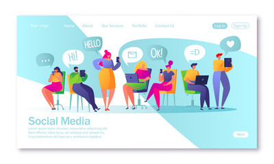 Concept of landing page on social media theme. Vector illustration for mobile website development and web page design. Vector illustration with set of flat people characters chatting in social network
