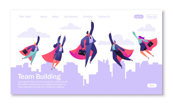 Concept of landing page on teamwork theme. Vector illustration for mobile website development and web page design. Business illustration, teamwork concept. Flat flying business people heroes.