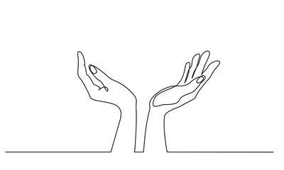 Continuous one line drawing. Hands palms together