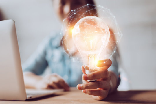 Creativity and innovative are keys to success.Concept of new idea and innovation light bulb.