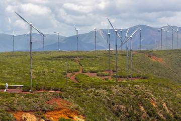 Wind farm near Oundjo, Northern Province, New Caledonia, Melanesia, Oceania, South Pacific Ocean. Wind power plant. Wind turbines