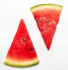 Watermelon slices flat layout isolated on white background