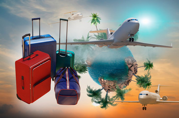 a  travel bags with Luggage as a symbol of travel   and tourism concept