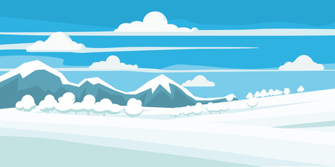 Winter landscape, field in the snow, mountains, trees, style, vector, illustration, isolated