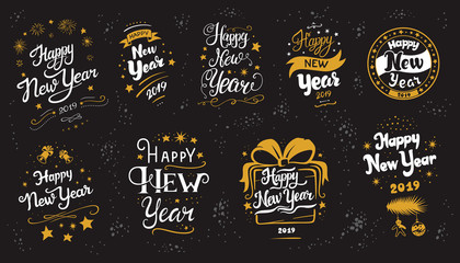 New Year 2019 lettering designs set
