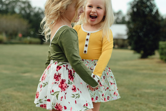 Two young girls playing
