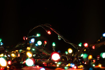 abstract christmas lights on a dark background