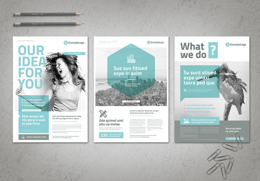 Business Flyer Layout with Pale Cyan Accents