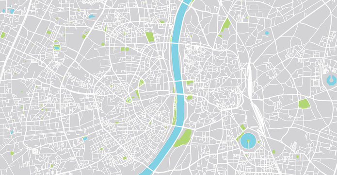 Urban vector city map of Ahmedabad, India