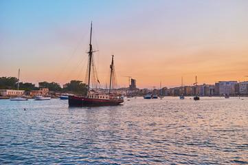 Vintage sailing ship on Northern Harbour of Valletta, Malta