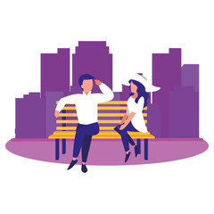 couple sitting on bench cityscape