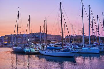 The moored yachts, Msida, Malta