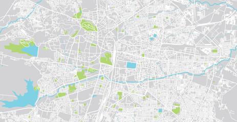 Urban vector city map of Nagpur, India