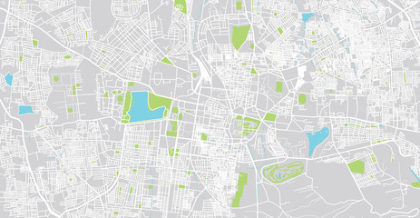 Urban vector city map of Mydore, India