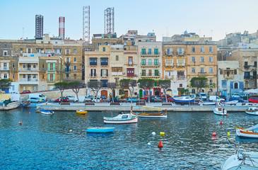 The colorful houses of Senglea, Malta