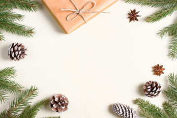 Christmas composition on wooden background.