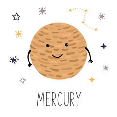 Cute planet Mercury. Planet with hands and eyes. Vector illustration for children