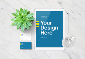 Tablet and Business Card Mockup