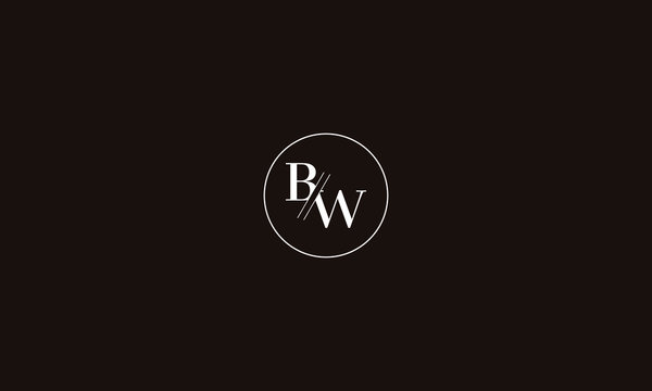 LETTER B AND W LOGO WITH CIRCLE FRAME FOR LOGO DESIGN OR ILLUSTRATION USE