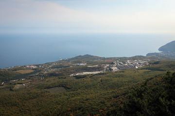 Black Sea coast scenic view from top of Crimean Mountains near Alushta, Russia