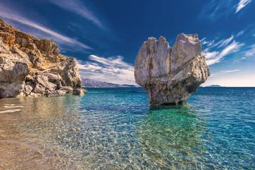 Preveli beach on Crete island with azure clear water, Greece, Europe