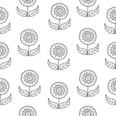 Vector black and white doodle flowers pattern with abstract floral flowers. Black and white hand-drawn flower seamless pattern background.